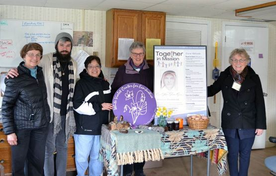 At White Violet Center for Eco-Justice, form left, Sister Ellen Kehoe, Providence Associates Ezra Meadors and Debra Prieto, Sister Mary Moloney and Providence Associate Betty Sloan.